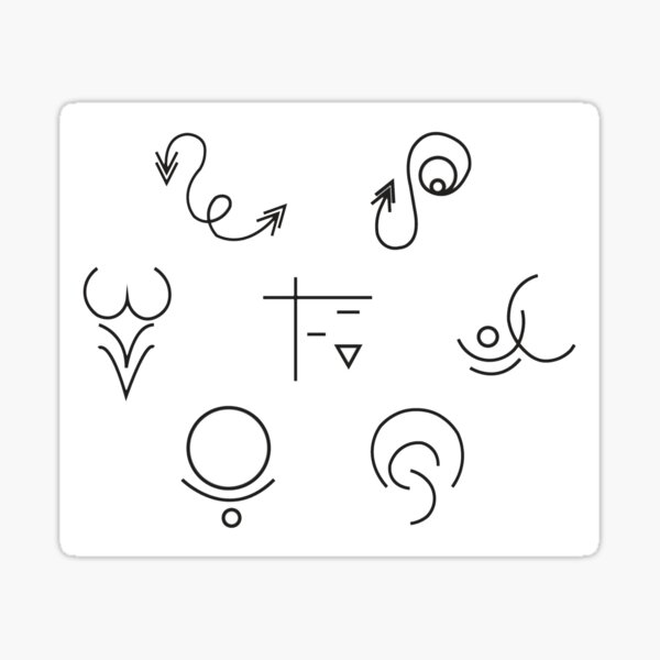 Alem Symbols Clustered (White) Sticker