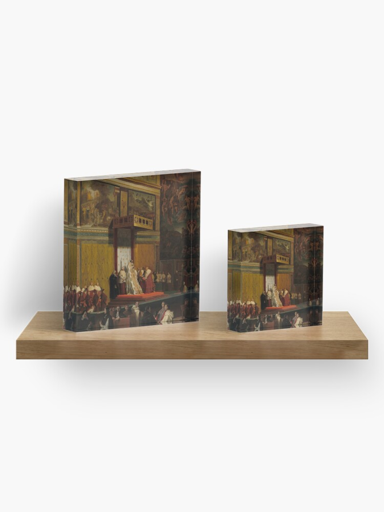 Alternate view of Pope Pius VII in the Sistine Chapel Oil Painting by Jean-Auguste-Dominique Ingres Acrylic Block