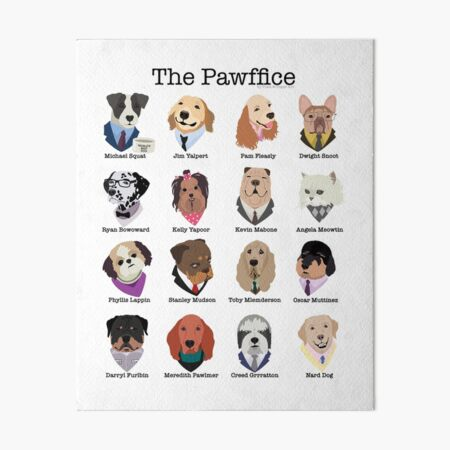 The Pawffice Characters from The Office as Dogs Art Board Print