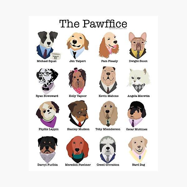Los personajes de Pawffice de The Office como perros Lámina fotográfica