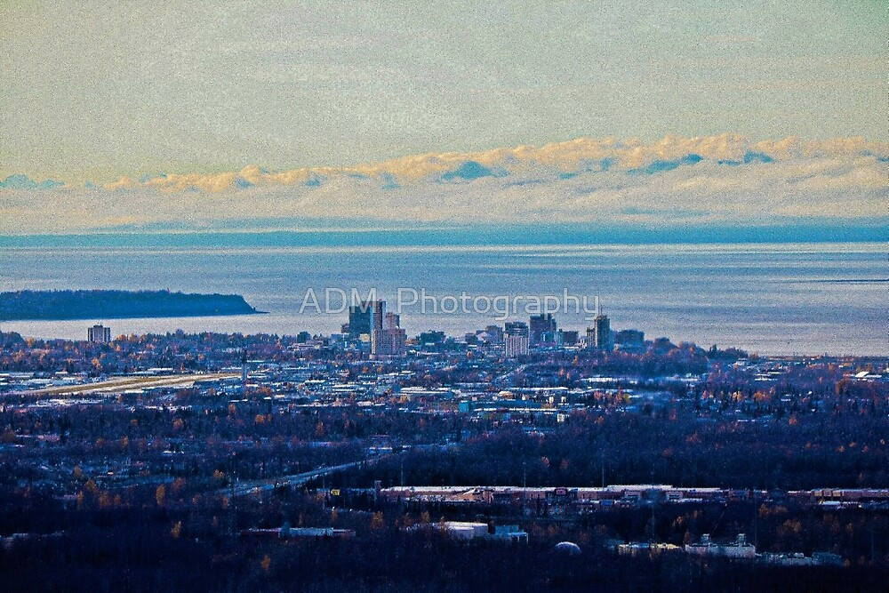 Looking Down to Anchorage, Alaska by Amber D Hathaway Photography