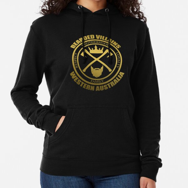 Bearded Villains Western Australia Black and Gold Logo Lightweight Hoodie