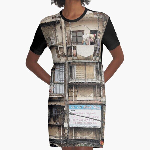 Architecture and houses, Hanoi Vietnam Graphic T-Shirt Dress