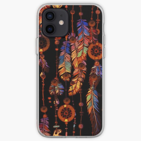 Dream Catcher with Magic Feathers - Native American Tribal Folklore Art iPhone Soft Case