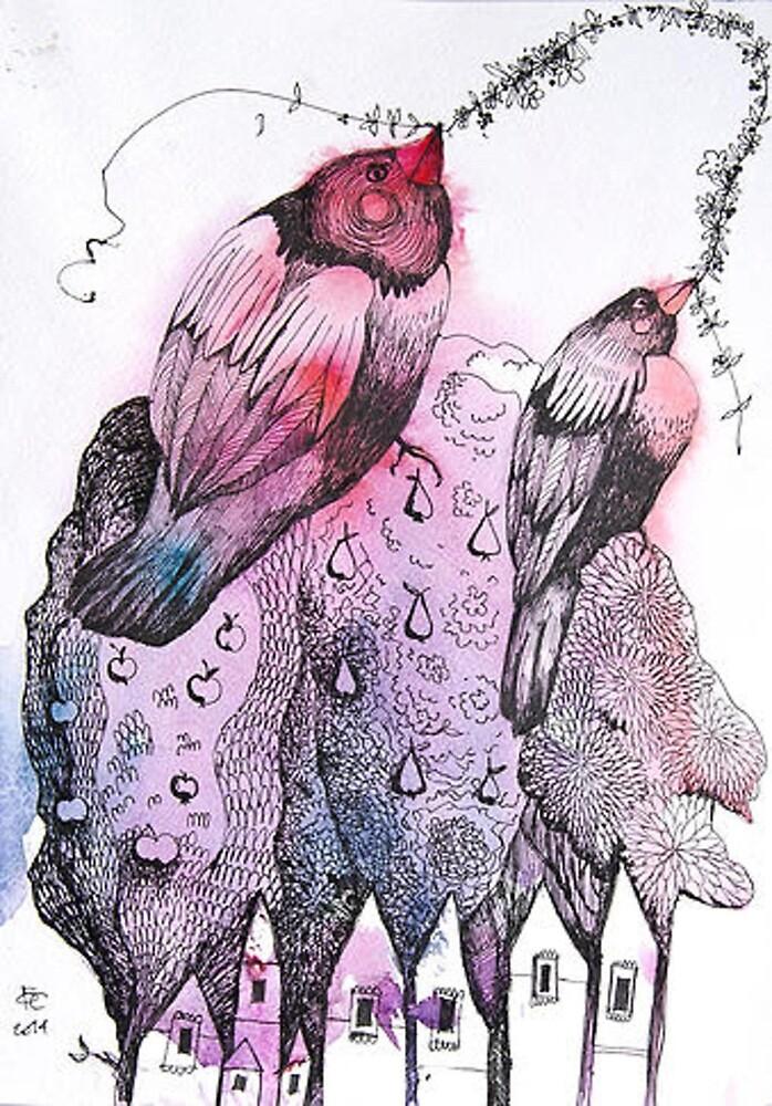 Bullfinches by olgagrebennik