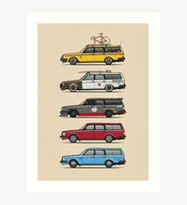 Stack of Volvo 200 Series 245 Wagons Art Print