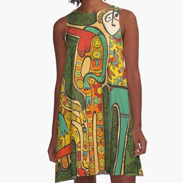 """Colorful Gathering"" by Tara Mokhtari A-Line Dress"