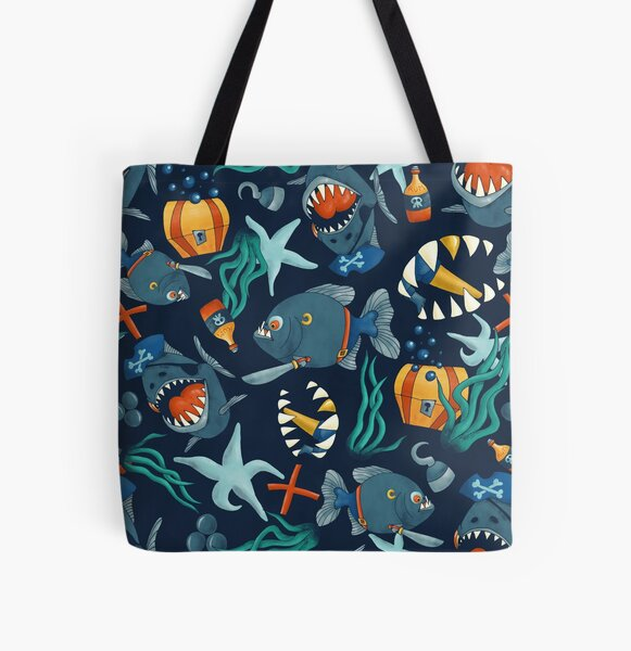 Pirate piranhas All Over Print Tote Bag