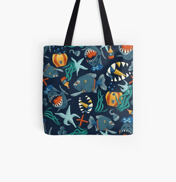 Pirate piranhas All Over Print Tote Bag