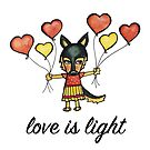 Love is Light: Cute German Shepherd Dog Watercolor Illustration by mellierosetest