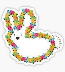 Colorful Jigsaw Whimsical Baby Bunny Sticker