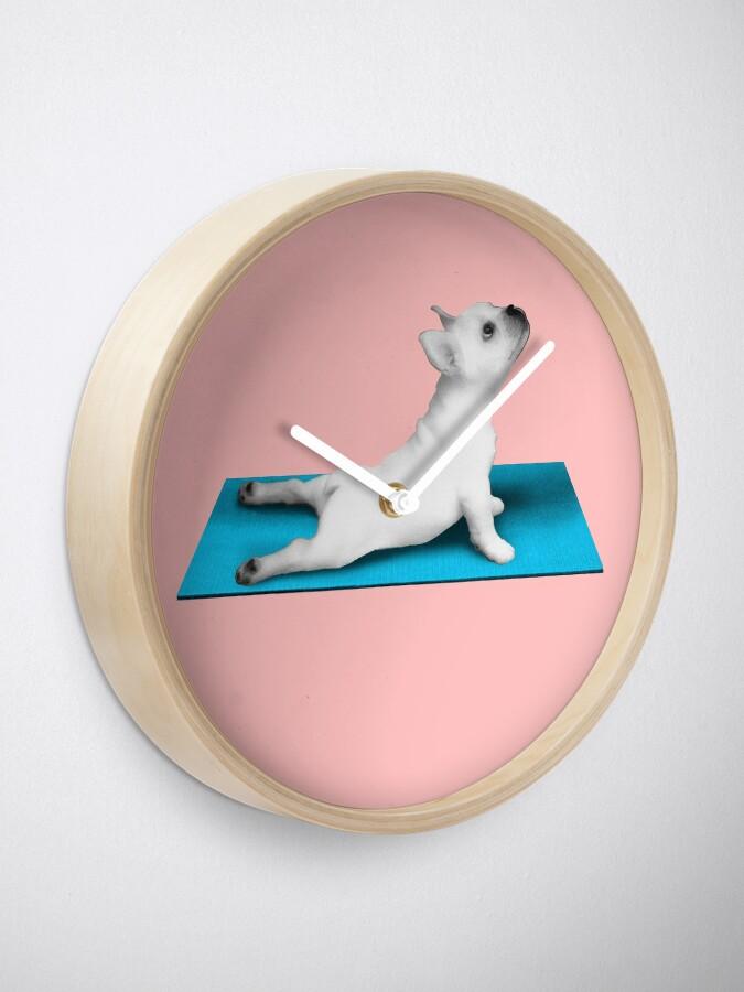 Alternate view of Yoga dog blue mat Clock
