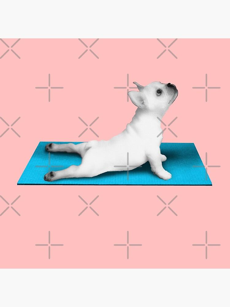 Yoga dog blue mat by revolutionaus