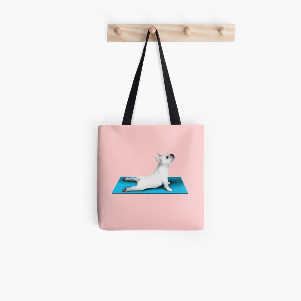 Yoga dog blue mat Tote Bag