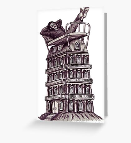 Dreamer on the roof surreal black and white pen ink drawing Greeting Card