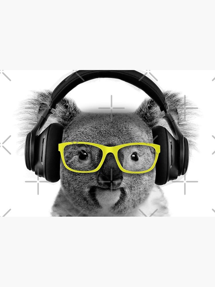 Koala, lovely koala grooving with headphones and glasses by revolutionaus