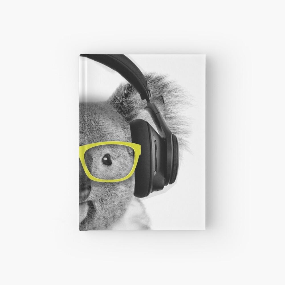 Koala, lovely koala grooving with headphones and glasses Hardcover Journal