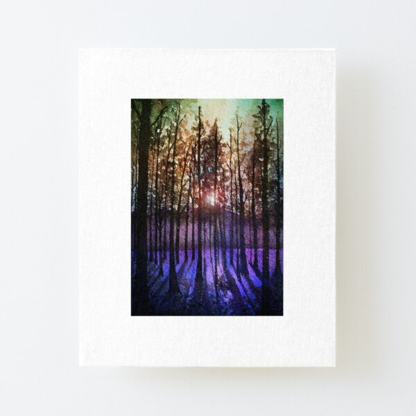 Rainbow sunset: fantasy watercolor forest Canvas Mounted Print