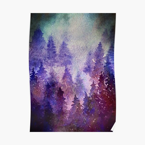 Purple and blue watercolor pine forest Poster