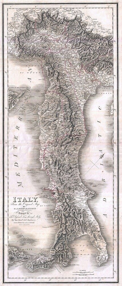 Vintage Map of Italy (1814) by BravuraMedia