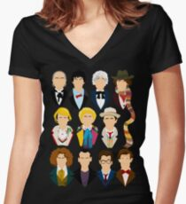 The Eleven Doctors  Women's Fitted V-Neck T-Shirt