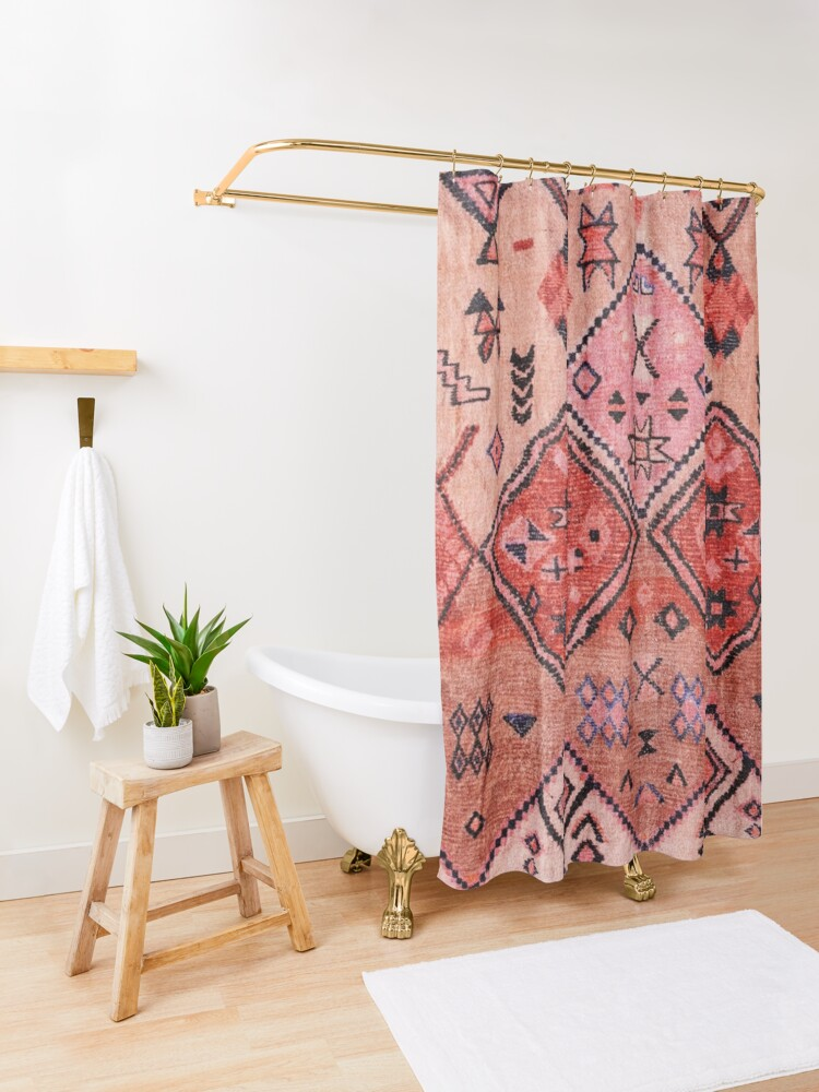 Alternate view of Boho Farmhouse Stylish Oriental Traditional Moroccan Style Artwork Shower Curtain