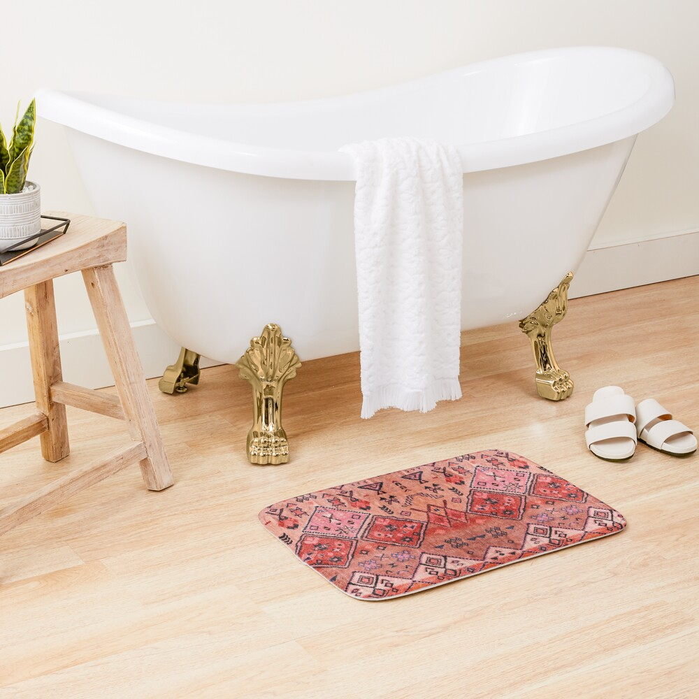 Boho Farmhouse Stylish Oriental Traditional Moroccan Style Artwork Bath Mat