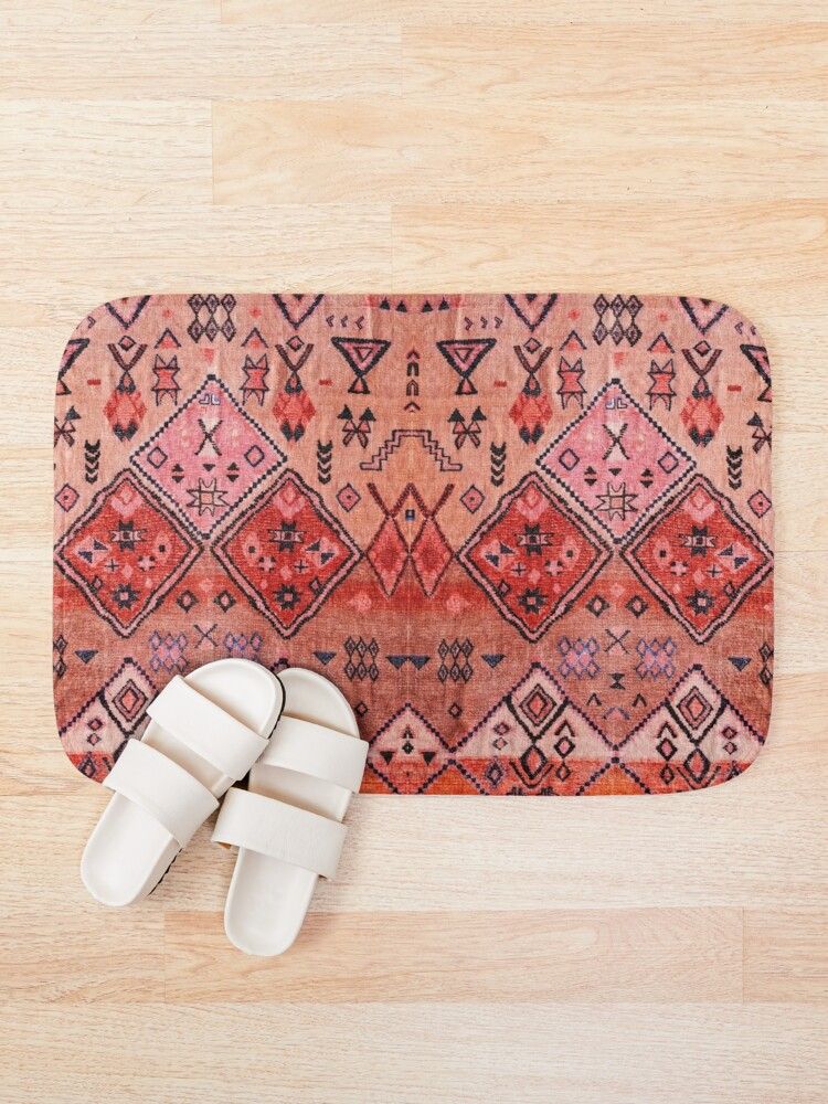 Alternate view of Boho Farmhouse Stylish Oriental Traditional Moroccan Style Artwork Bath Mat