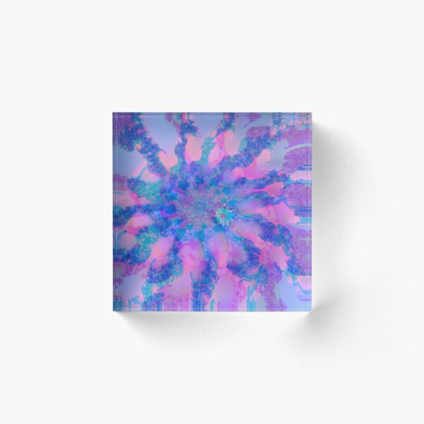 Fractalize storm clouds of flower petals Acrylic Block