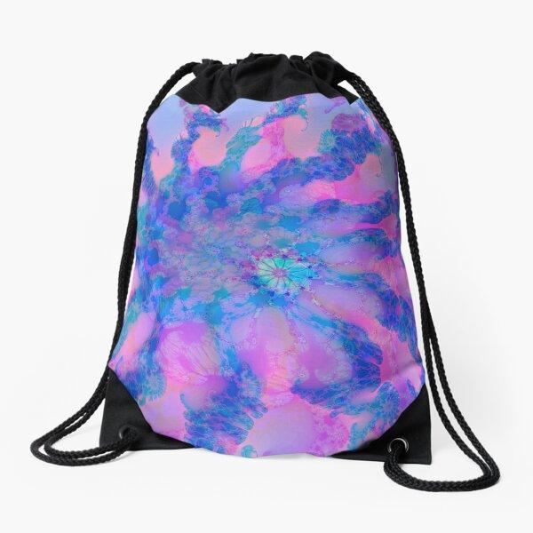 Fractalize storm clouds of flower petals Drawstring Bag