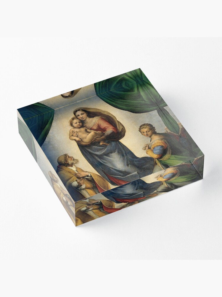 Alternate view of The Sistine Madonna Oil Painting by Raphael Acrylic Block