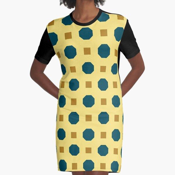 Vintage geometrisch auf beige T-Shirt Kleid