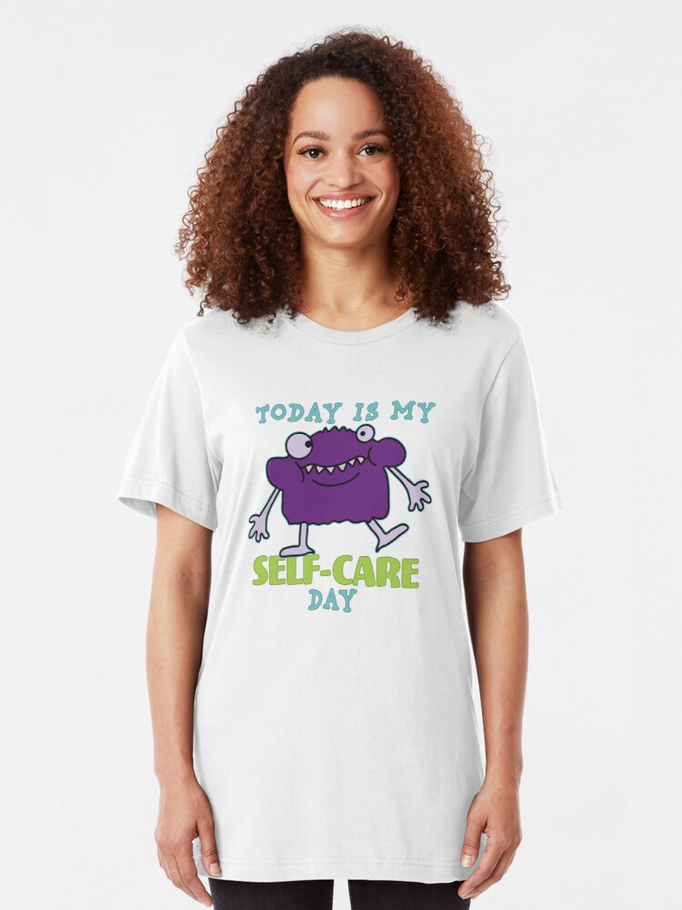 Alternate view of Self-Care Day. Slim Fit T-Shirt