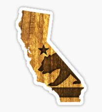 California State Bear (wood design) Sticker