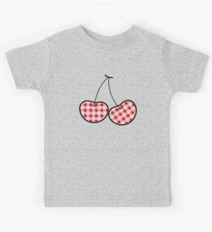 Red Plaid Cute Cheeky Cherries Kids Clothes