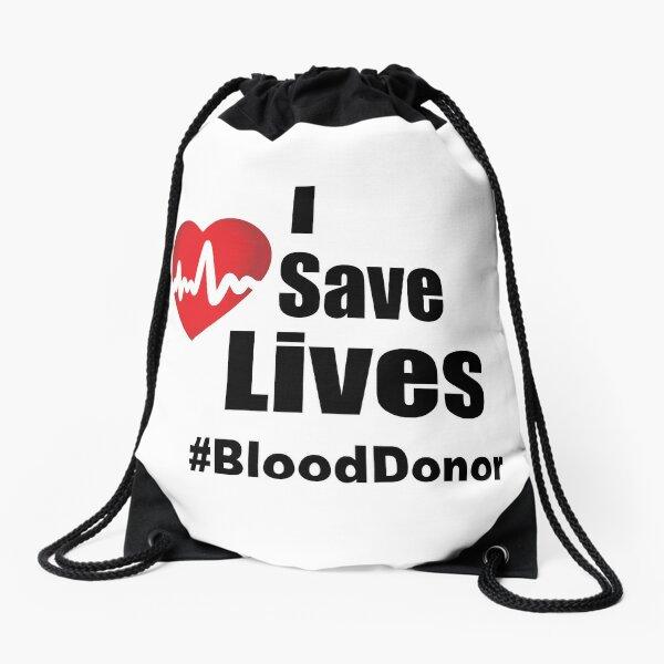 I Save Lives - Blood Donor Drawstring Bag