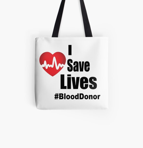 I Save Lives - Blood Donor All Over Print Tote Bag