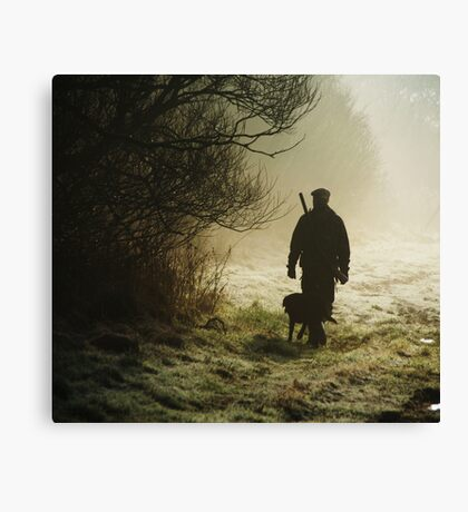 hunting pheasants on a misty morning  Canvas Print
