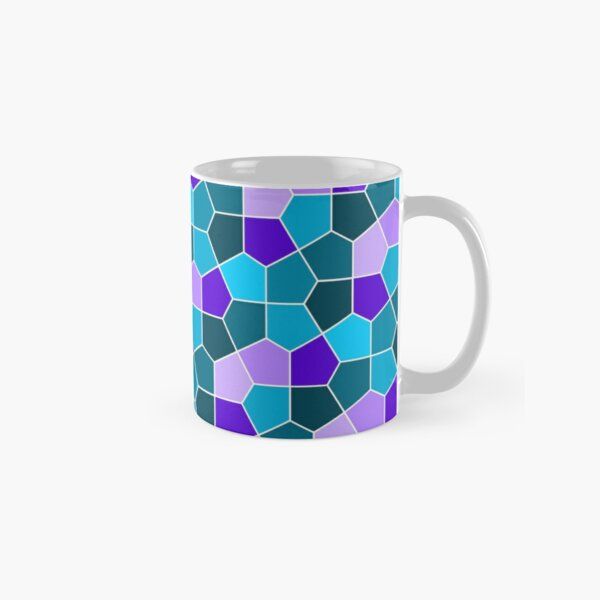 Cairo Pentagonal Tiles in Aqua and Purple Classic Mug
