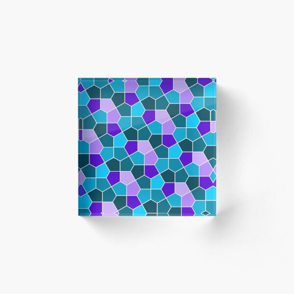 Cairo Pentagonal Tiles in Aqua and Purple Acrylic Block