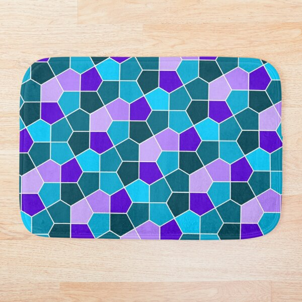Cairo Pentagonal Tiles in Aqua and Purple Bath Mat