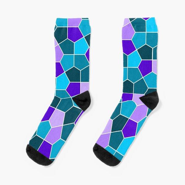 Cairo Pentagonal Tiles in Aqua and Purple Socks