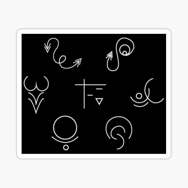 Alem Symbols Cluster (Black) Sticker