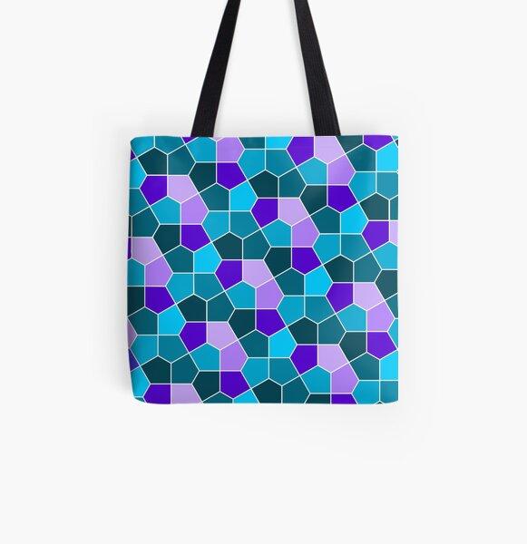 Cairo Pentagonal Tiles in Aqua and Purple All Over Print Tote Bag