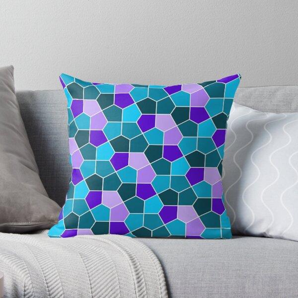 Cairo Pentagonal Tiles in Aqua and Purple Throw Pillow