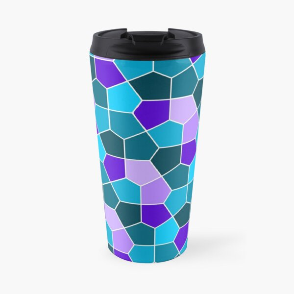 Cairo Pentagonal Tiles in Aqua and Purple Travel Mug