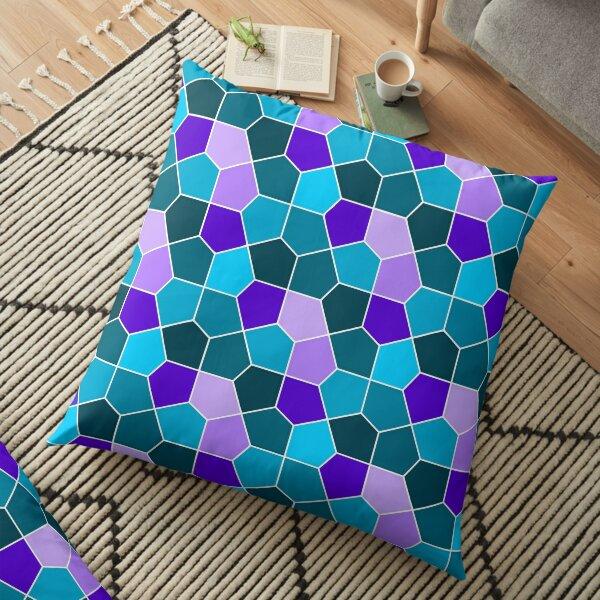 Cairo Pentagonal Tiles in Aqua and Purple Floor Pillow