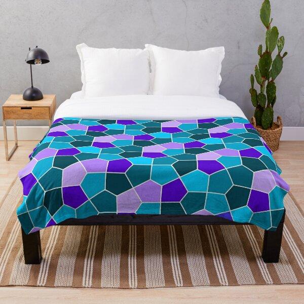 Cairo Pentagonal Tiles in Aqua and Purple Throw Blanket