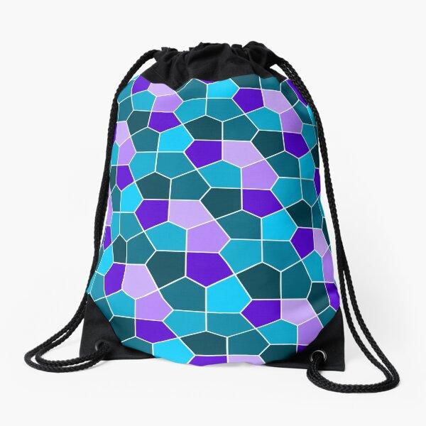 Cairo Pentagonal Tiles in Aqua and Purple Drawstring Bag