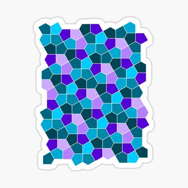 Cairo Pentagonal Tiles in Aqua and Purple Sticker